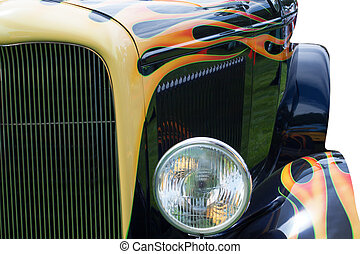 front of hot rod car - isolated front of a hot rod with...