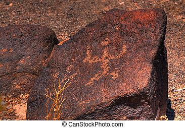 Petroglyphs - Ancient desert southwest Hohokam petroglyphs