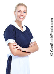 Maid woman - Smiling maid woman Isolated over white...
