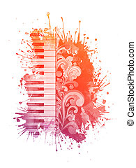 Watercolor Piano - Piano in the Watercolor Stain Isolated on...