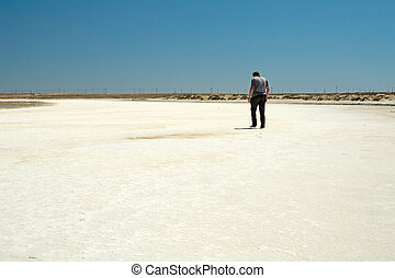 Salt Lake - The guy walking barefoot on the salt lake