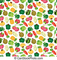 cartoon Fruits and Vegetables seamless pattern
