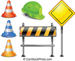Construction - Road warning cone, sign for construction...