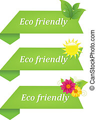 Eco Friendly Ribbons, Isolated On White Background, Vector...