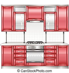 Red kitchen - Modern kitchen interior in red color, vector...
