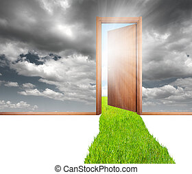 Door and green - Open door at the green environment