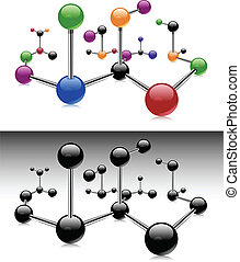 Color molecule - Molecule, color isolated elements on white...