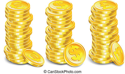 Gold coins stacks
