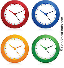 Color wall clocks - Office color wall clock on white...