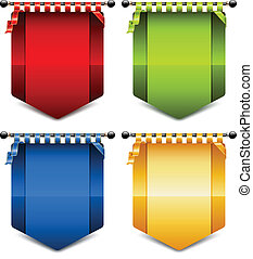 Heraldic coats - Four heraldic coats different color, vector...