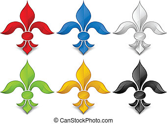 Fleur - Fleur, color lily symbol on white background, vector...