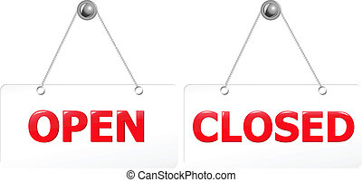 Open And Closed Red Signs - 2 Glossy Open And Closed Door...