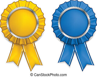 Award rosettes - Award yellow and blue rosettes with medals...