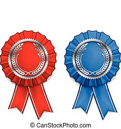 Award arms and ribbons - Award red and blue rosettes with...