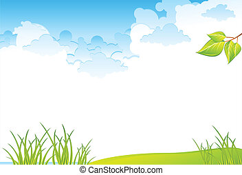 Grass field and sky - Green grass field and blue cloudy sky,...