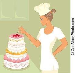 baker with wedding cake