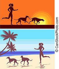 greyhound - silhouettes of greyhounds  and girl on the beach