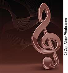 Brawn treble clef on perfect background, vector illustration...