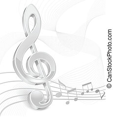 White treble clef on white - White treble clef with notes...