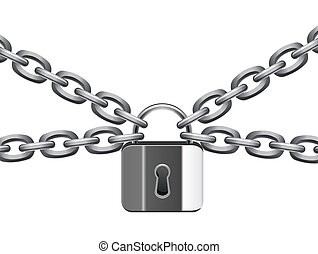 vector illustration of metal chain and padlock
