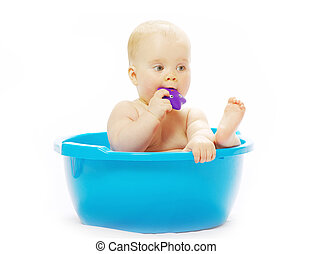 baby having bath  - Cute baby having bath on white