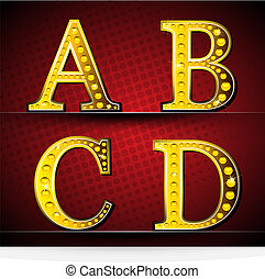 Set Letters With Gold LED Lamp - Illustrator EPS 10, Be Able...