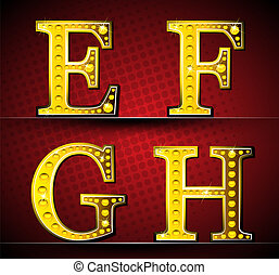 Set Letters With Gold LED Lamp