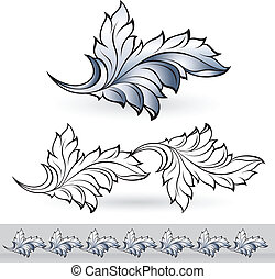 Abstract beautiful leaf. Illustration for design on white...