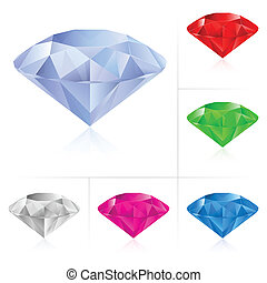 Realistic diamonds in different colors Illustration for...