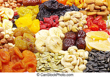 dried fruits - Background made of assorted dried fruits