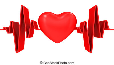 Red heart and cardiogram on white background
