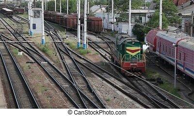 Shunting locomotive on the railroad - Shunting locomotive at...