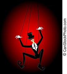marionette - Cartoon court jester holds a marionette