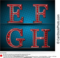 Set Red Letters With LED Lamp - Illustrator EPS 10, Be Able...