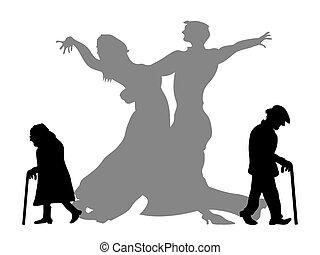 sueño, ser, bailando, socio