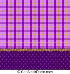 Beautiful checked background with lace and bows