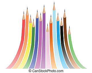 abstract rainbow background formed by colorful pencils