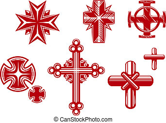 Religious crosses - Set of religious crosses and icons for...