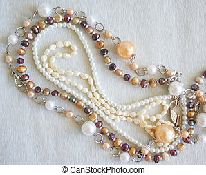 pearl beads - white and brown pearl beads
