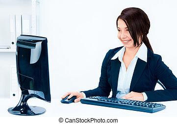 ambiente, donna, ufficio, affari
