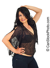 Fashionable brunette woman in black