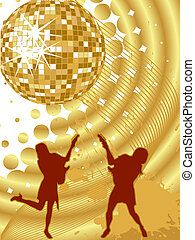 party - disco - vector illustration of female silhouette...