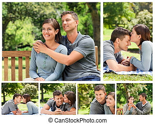 Collage of a lovely couple enjoying moments together in a...