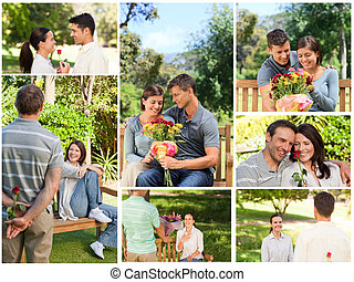 Collage of lovely couples enjoying a moment together in a...