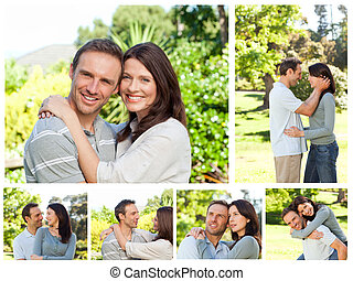 Collage of a lovely couple enjoying a moment together in a park