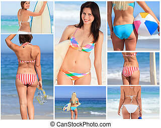 Bright collage made of seven women pictures on the beach -...