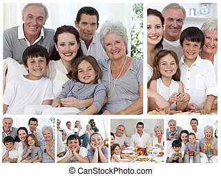 Collage of a whole family enjoying sharing moments together...
