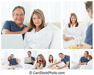 Collage a lovely couple enjoying moments together at home