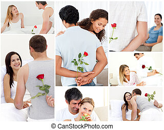 Collage of lovely couples enjoying the moment