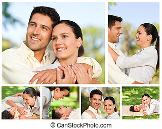 Collage of a lovers enjoying a moment together in a park